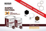 Краска матовая для металла 205 Чёрная Biodur, 0.7 л.