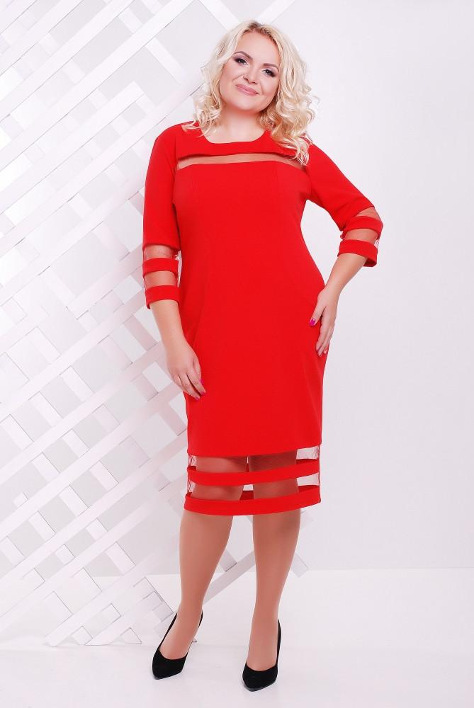 Женское батальное платье Хилари цвет красный / размер 50-60