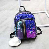 Рюкзак с пайетками, карманы на молнии- 207-172