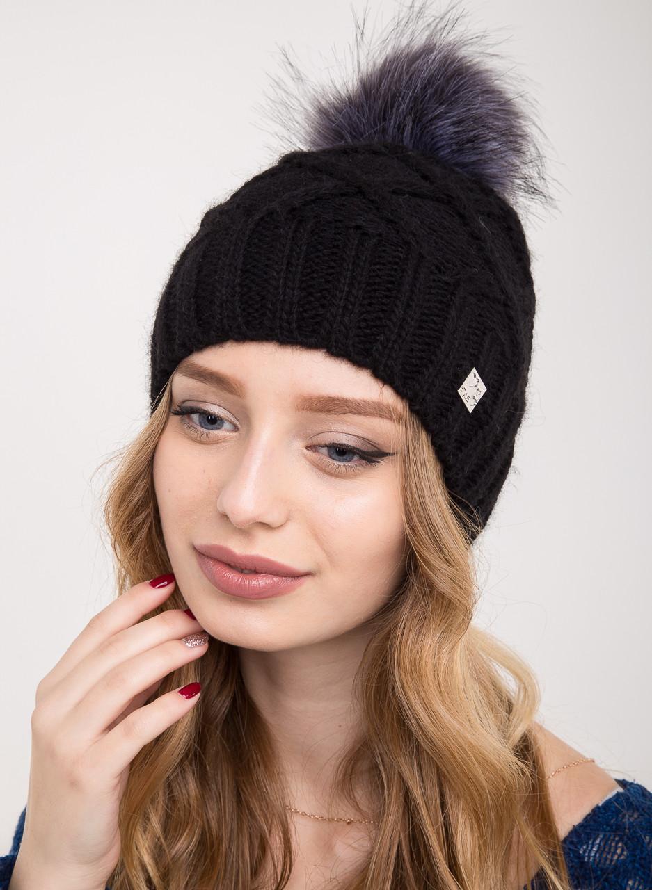 Женская вязанная шапка с меховым помпоном на зиму - Артикул 2150-2