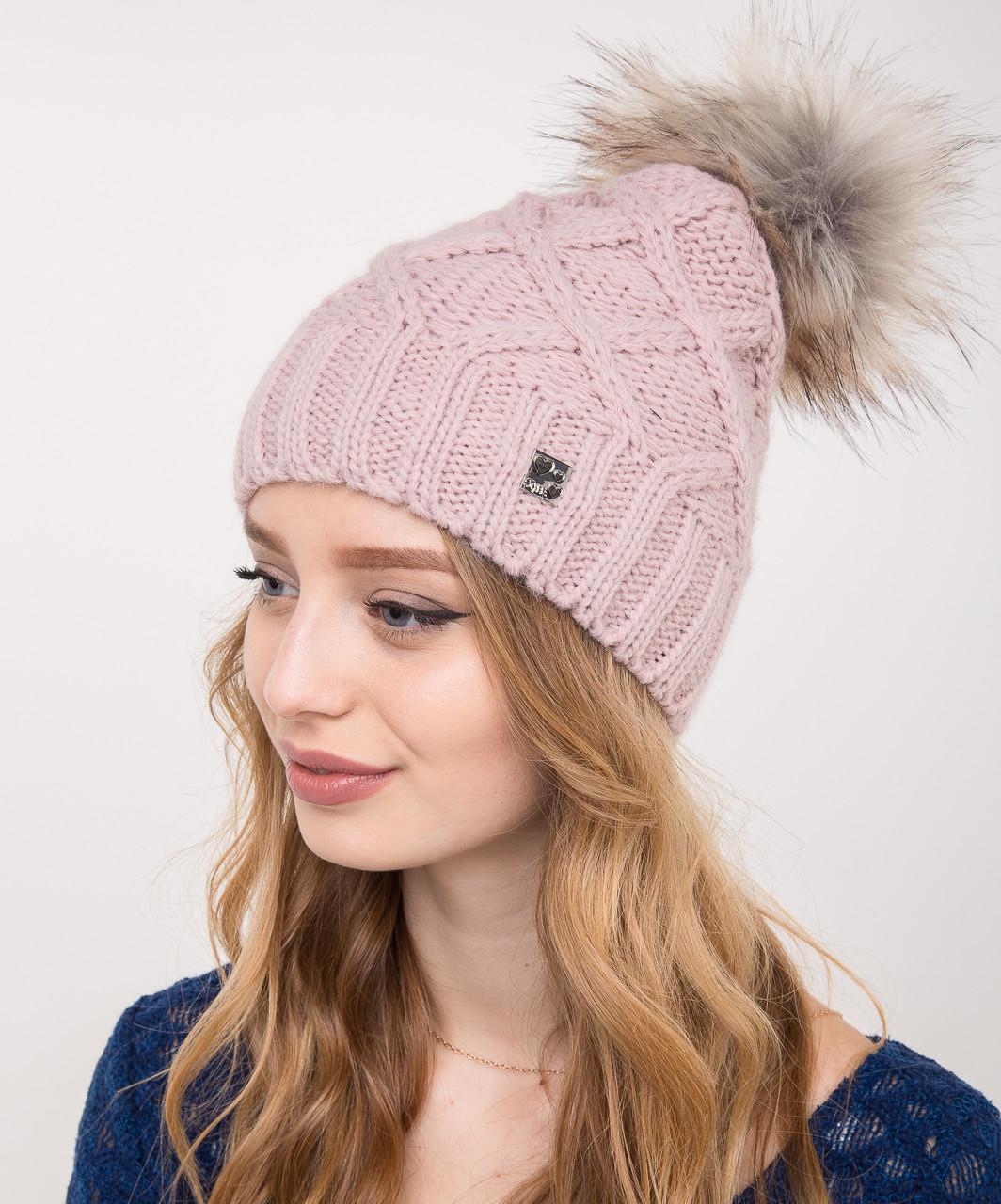 Женская вязанная шапка с меховым помпоном на зиму - Артикул 2150-4