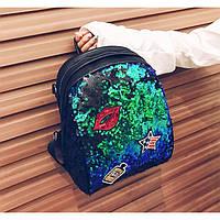 Рюкзак с пайетками и нашивками- 207-161