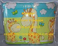 Защита, бортики, бампер в кроватку детскую-Жирафы Животные принты, Зеленый