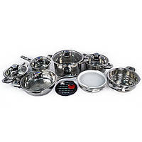 Набор кухонной посуды Supretto из нержавейки, набор кастрюль, набор столовой посуды 16 предметов