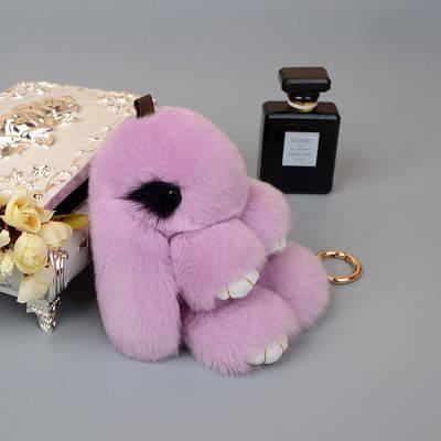 Брелок Кролик из натурального меха Эксклюзивный с норковыми ресницами 20 см