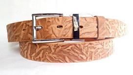 Кожаный ремень 35 мм светло-коричневого цвета тёрка пряжка хромированная классическая тренчик Levis