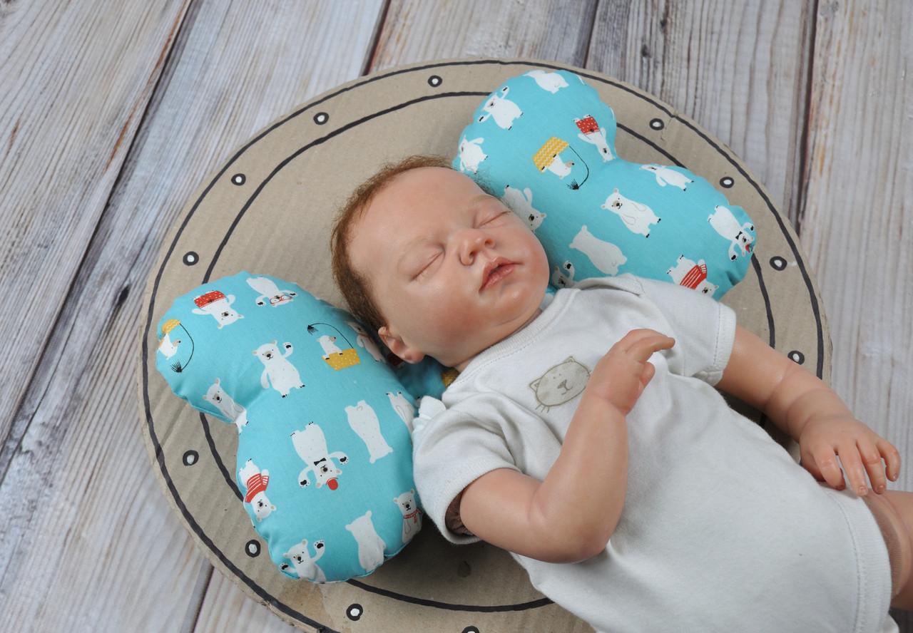 """Детская подушка для новорожденных """"Butterfly"""", мишка белый"""
