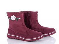 Женские зимние ботинки дутики на меху цвет бордо KMB B807-6