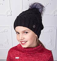 Вязанная шапка с меховым помпоном для девочек на зиму - Арт 2150-2