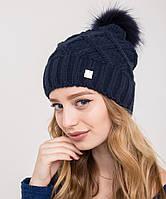 Женская вязанная шапка с меховым помпоном на зиму - Арт 2150-3