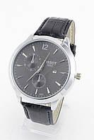 Мужские наручные часы Tissot (серебряный корпус, черный ремешок)