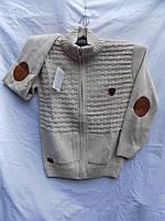Свитер детский на мальчика на змейке Турция 5045 светло серый