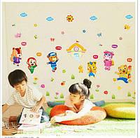 Интерьерная наклейка для детской комнаты Школа животных