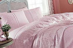 Gelin home КПБ + покрывало DONNA  евро розовый