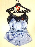Атласная пижама для дома с кружевом, одежда ТМ Exclusive.