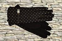 Чёрные женские перчатки в горошек