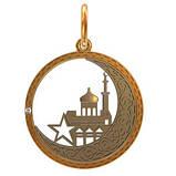Подвеска серебряная Мечеть с звездой в полумесяце 411550, фото 2