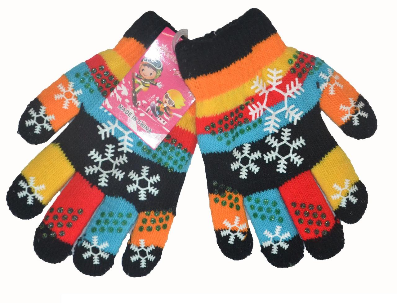 Перчатки детские разноцветные для девочки