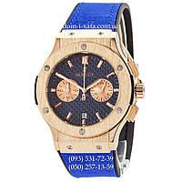 Мужские наручные часы Hublot Classic Fusion Quartz Blue-Gold-Blue, Хублот классик