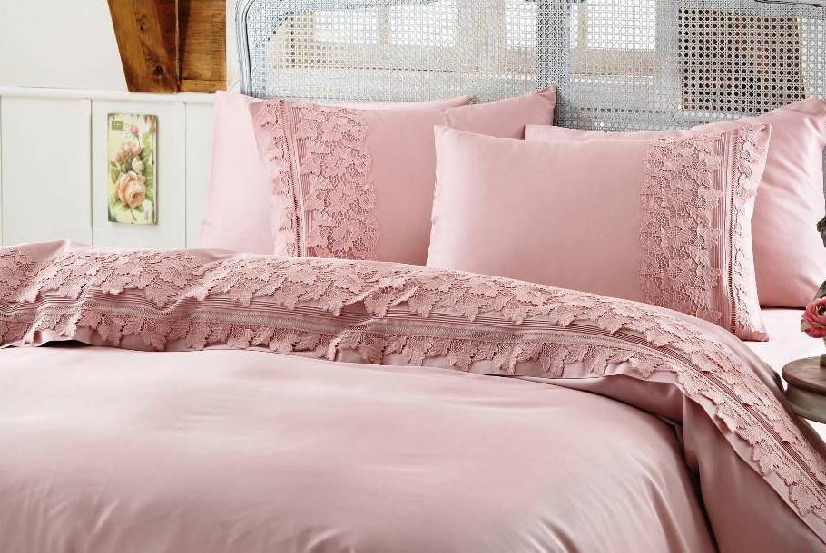 Gelin home КПБ + покрывало ESMA  евро темно-розовый