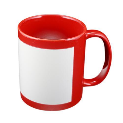 Чашка для сублимации цветная с полем 330 мл (Красный)