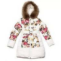 Стильное пальто KIKO 3356 для девочки Бархатные розы 152, 158, 164