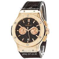 Мужские наручные часы Hublot Classic Fusion Quartz Black-Gold-Black, Хублот классик