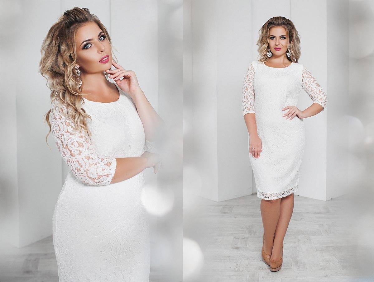 a99d6750f774788 Купить Вечернее женское платье гипюровое белое (6 цветов) ТК/-01099 ...