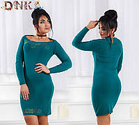 Платье Элегантное рельефное сболеро и камнями зелёное норма и Батал