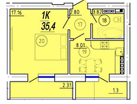 1 комнатная квартира 35,4 метра ЖК «Solaris», улица Академика Сахарова