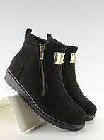 11-19 Черные женские ботинки замшевые с золотой побрякушкой g-32 37,38
