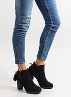 11-13 Черные женские ботинки на каблуке с декоративной шнуровкой 66-201 40,38,37,36