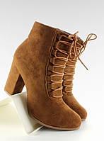 11-13 Светло-коричневые женские ботинки открытым носком на широком каблуке nc16 39,40,38,37,36