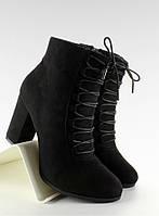 11-13 Черные женские ботинки открытым носком на широком каблуке nc16 41,40,39,38