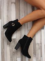 11-13 Черные замшевые женские ботинки на каблуке SQ06 40,36,37
