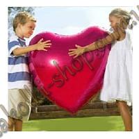 Фольгированные воздушные шары, форма:сердце, цвет: розовый, 28 дюймов/70 см, 1 штука