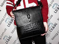 Мужская сумка-планшетка 3D крокодил черная
