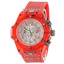 Мужские наручные часы Hublot Big Bang Quartz Unico Sapphire Red, кварцевые часы с хронографом Хублот, реплика, отличное качество!