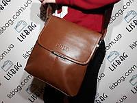 "Мужская кожаная  сумка  Polo cветло-коричневая  размер ""XL"""