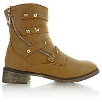 11-19 Светло-коричневые женские ботинки в стиле милитари BL2803 40,39,38,37,36