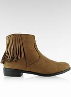 11-19 Светло-коричневые женские ботинки замшевые с бахромой 8355 41,39,38