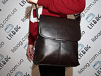"""Мужская кожаная  сумка  Polo темно-коричневая  размер """"XL"""" а4"""