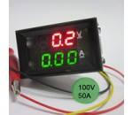 Вольтметр/амперметр 100V/50A-RG