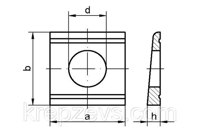 Схема габаритных размеров косой шайбы DIN 434