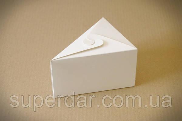 Коробка для одного куска торта, печенья или других десертов, 150х110х90 мм., белая