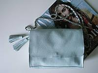 Женская голубая кожаная сумочка-кроссбоди