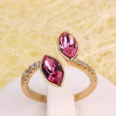 R13-0022 - Позолоченное кольцо с кристаллом Swarovski Marquise Crystal Rose, 18-18.5 р