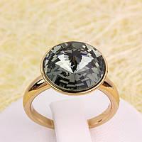 011-0024 - Позолоченное кольцо с кристаллом Swarovski Rivoli Crystal Black Diamond, 16.5, 18.5, 20.5 р.