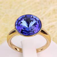 R13-0025 - Позолоченное кольцо с кристаллом Swarovski Rivoli Crystal Sapphire, 16.5, 17, 18, 18.5, 19.5, 20.5