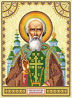 Схема для вышивки иконы бисером на натуральном художественном холсте Святой Сергий (Сергей)